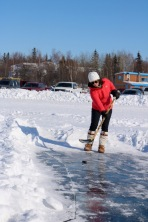 "Long John Jamboree Northern Putting Challenge: ""Mini Putt"" - where the putter is a hockey stick and the green is the ice of Great Slave Lake!"