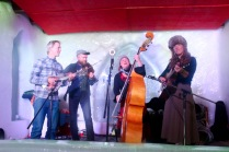 The Foghorn String Band tearing it up on stage at the Snowking Castle for the Royal Ball