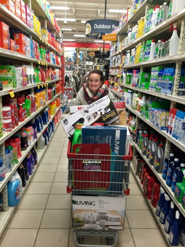 Filling our cart in Canadian Tire to outfit our new apartment.