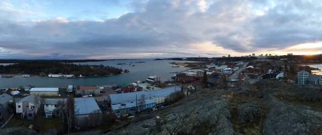 The iconic view of Yellowknife Bay (AKA 'Houseboat Bay') from the top of Pilot's Monument in Yellowknife's Old Town.