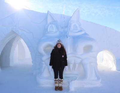 This snow sculpture of a dragon's head was coming out from the side of the double slide in the snowcastle - it was huuuuge!