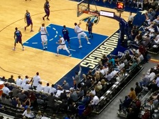 If you look closely on the sideline, in the corner, you can see the owner of the Dallas Mavericks, Mark Cuban, cheering his team on. (I'm pretty sure he is their biggest fan!)