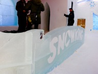 Snowking Stage in the Snowking Castle on Great Slave Lake's Yellowknife Bay
