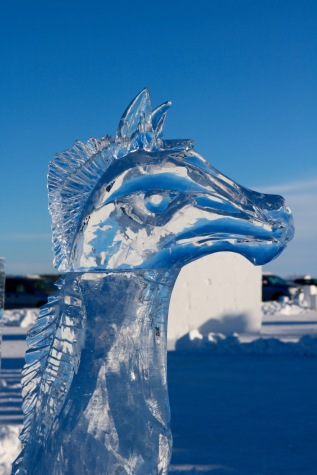 One of the many ice sculptures around the snowcastle
