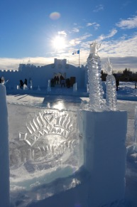 Icy welcome sign at Snowking XXI