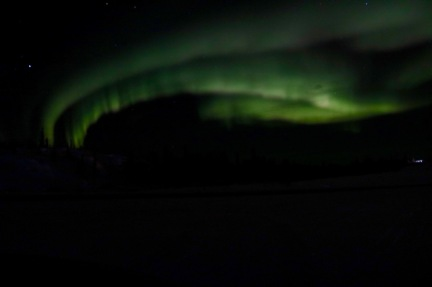 View of the aurora from our pull-off on Ingraham Trail in Yellowknife