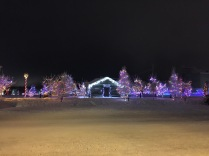 Christmas lights at Somba K'e Civic Plaza near City Hall in Yellowknife