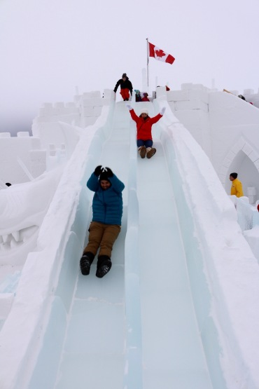 Ice slide races at the Snowking Castle