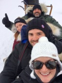 Group selfie in the dogsled at Aurora Village