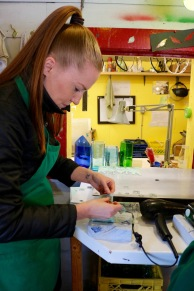 Nicole working hard on her stencil at Old Town Glassworks