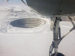 Aerial view of the mining pits at Diavik Diamond Mine