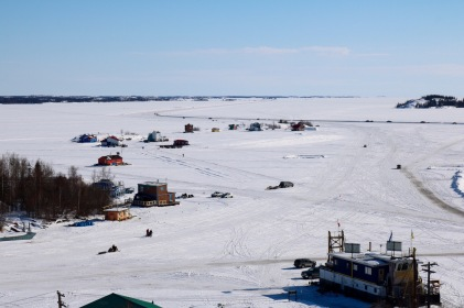View of Houseboat Bay and Dettah Ice Road from the top of Pilot's Monument
