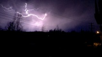 A rare Yellowknife lightning storm lights up the sky