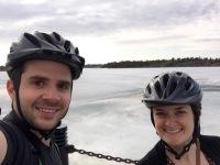 Biking along Frame Lake Trail