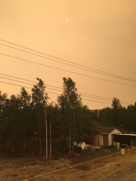 At times in the summer when the forest fires were blazing 100s of kms away, Yellowknife had a strange orange haze over it and winds carried ashes in the air - it was literally raining ashes that night! Pretty spooky actually...